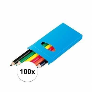 Grabbelton 100x doosjes kleurpotloden met 6 potloden cadeautjes