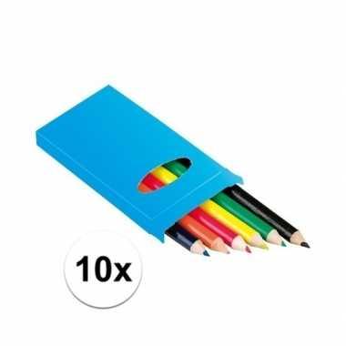 Grabbelton 10x setje potloden 6 stuks gekleurd cadeautjes