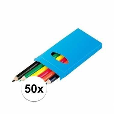 Grabbelton 50x doosjes kleurpotloden met 6 potloden cadeautjes